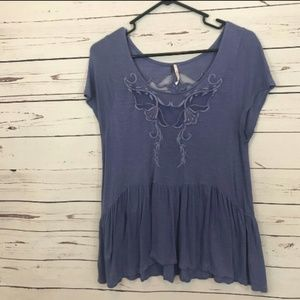 Free People embroidered peplum hem top